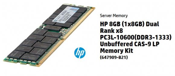 647909-B21 HP 8GB (1x8GB) Dual Rank LP UDIMM