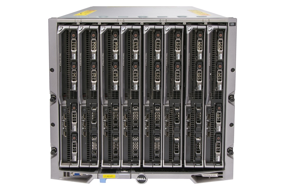 Dell PowerEdge M1000e Blade Enclosure, 1x CMC, 8 x M710 II Blade